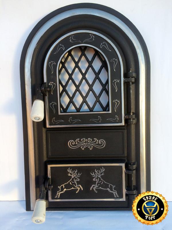 Печная дверца со стеклом Олени, чугунные дверки для печи и барбекю