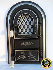 Пічна дверцята зі склом Олені