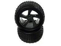 Колеса трагги Himoto 1:18 Tire and Black Rim for Truggy