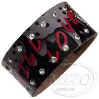 Кожаный браслет от Ed Hardy - Kill Love со стразами BHY036