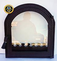 Печная дверца со стеклом Печь-Каминная, чугунные дверки для печи и барбекю