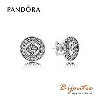 Серьги Pandora ВИНТАЖНОЕ СИЯНИЕ 2в1 #290721CZ серебро 925 цирконий Пандора оригинал