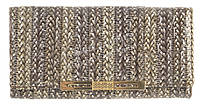 Стильный прочный кожаный лаковый качественный женский кошелек H.VERDE art. 2030-D56 плетеный принт