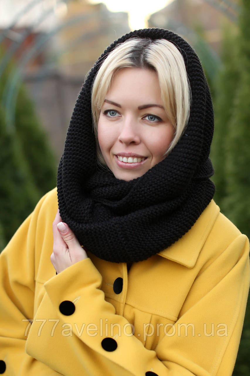 Снуд шапка шарф шерстяной плотный черный
