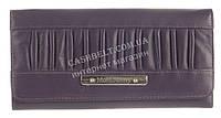Стильный прочный кожаный лаковый качественный женский кошелек MORO art. MR-81-21D фиолетовый