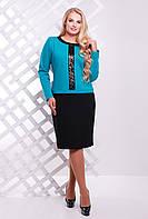 Двухцветное осеннее платье с декором из пайеток большого размера 54-60, фото 1