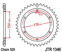 Звезда задняя JT JTR1346.43 43x525