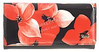 Стильный лаковый женский кожаный кошелек высокого качества H.VERDE art. 51487CL-F99B красные цветы