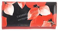 Стильный лаковый женский кожаный кошелек высокого качества H.VERDE art. 51487CL-F99B цветы