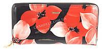 Функциональный кожаный лаковый качественный женский кошелек барсетка H.VERDE art. 51480L-F99B красные цветы