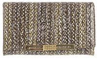 Компактный прочный кожаный лаковый качественный женский кошелек H.VERDE art. 2103-D56 плетенка принт