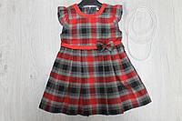 Платье сарафан в клеточку для девочки, одежда для детского сада рост 92,104
