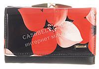 Компактный прочный кожаный лаковый качественный женский кошелек H.VERDE art. 51103L-F99B красные цветы