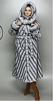 Женская шубка искусственная серо-голубая норка М-102 48-58 размеры