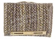 Маленький прочный кожаный лаковый качественный женский кошелек H.VERDE art. 2239-D56 плетенка принт
