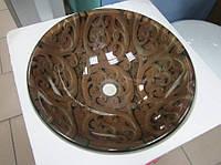 Оригинальный умывальник (HS 6120) с орнаментами стеклянный круглый 420 мм , фото 1