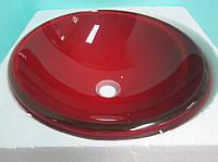 Умывальник накладной стеклянный круглый Aquared (красное стекло), фото 1