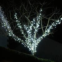 Нить 10м Белая (Холодный) Светодиодная, 100 LED, уличная гирлянда на черном каучуковом проводе