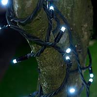 Уличная Гирлянда светодиодная нить, 20 м - цвет белый - холодный, черный каучуковый провод