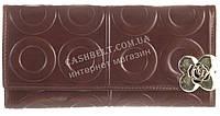 Стильный прочный женский кошелек с кожи высокого качественный F.Salfeite art. 704-2013 коричневый (кольца)