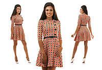 Клетчатое яркое платье с юбкой клеш и пояском в комплекте