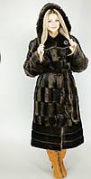 Длинная искусственная шуба коричневая норка М-61 44-58 размеры