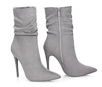 Женские элегантные серые замшевые полусапожки на каблуке