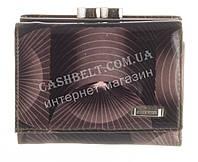 Маленький прочный кожаный лаковый качественный женский кошелек H.VERDE art. HV-23  BLACK 14M узоры