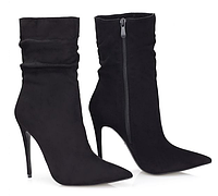 Женские элегантные замшевые полусапожки на каблуке