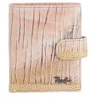 Маленький прочный кожаный качественный женский кошелек с визитницей Rog Bon art. R13169 розовый
