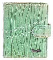 Маленький прочный кожаный качественный женский кошелек с визитницей Rog Bon art. R13169 зеленый