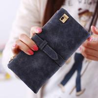 Женский кошелек из нубука FRIEND большой темно серый, фото 1