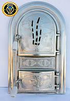 Печная дверца со стеклом Трость, чугунные дверки для печи и барбекю