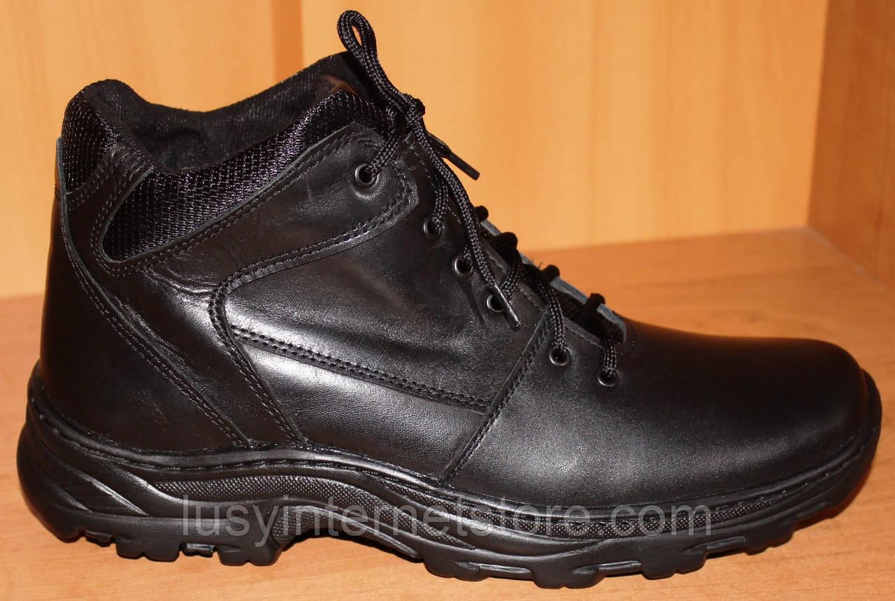 Мужские зимние ботинки черные на шнурках от производителя черные модель АМ200