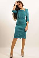 Красивое деловое платье из костюмной ткани по колено 42-52 размер