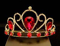 Диадема корона красные кристаллы на металлическом обруче, высота 5,5 см, золотистая
