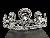 Диадема корона на обруче пять кристаллов, высота 5 см