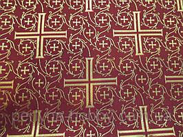 """Тканина церковна """"візантійський Хрест"""" бордова 1,60 м Тканину церковна"""