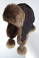 Женская шапка ушанка из меха кролика натуральный рыжий.