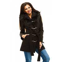 Женское зимнее пальто Дуэт с мехом на капюшоне
