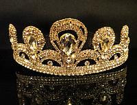 Диадема корона на обруче золотистая, высота 5 см