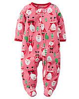 Рождественский флисовый человечек Картерс для девочки с закрытыми стопами