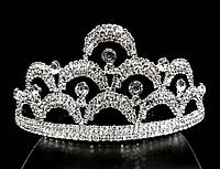 Диадема корона на обруче пять кристаллов, высота 6 см