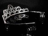 Диадема корона на обруче пять кристаллов, высота 6 см, фото 2