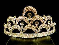 Диадема корона на обруче, золотистая, высота 6 см