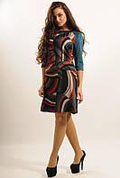 Стильное платье трапеция с ярким графическим принтом из трикотажа Джерси 42-52 размеры, фото 1