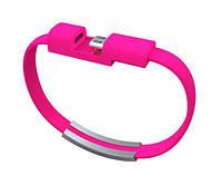 Кабель-браслет USB-lightning для iphone или ipad РОЗОВЫЙ SKU0000376, фото 1