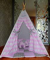"""Детский игровой домик, вигвам, палатка, шатер, шалаш """"Розовые слоники"""""""