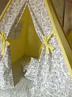 """Детский игровой домик, вигвам, палатка, шатер, шалаш """"Зверюшки на желтом """", фото 1"""
