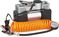 Миникомпрессор автомобильный двухпоршневой, 12В, 12бар, 60л/мин, набор адаптеров (3шт) Miol E-81-118